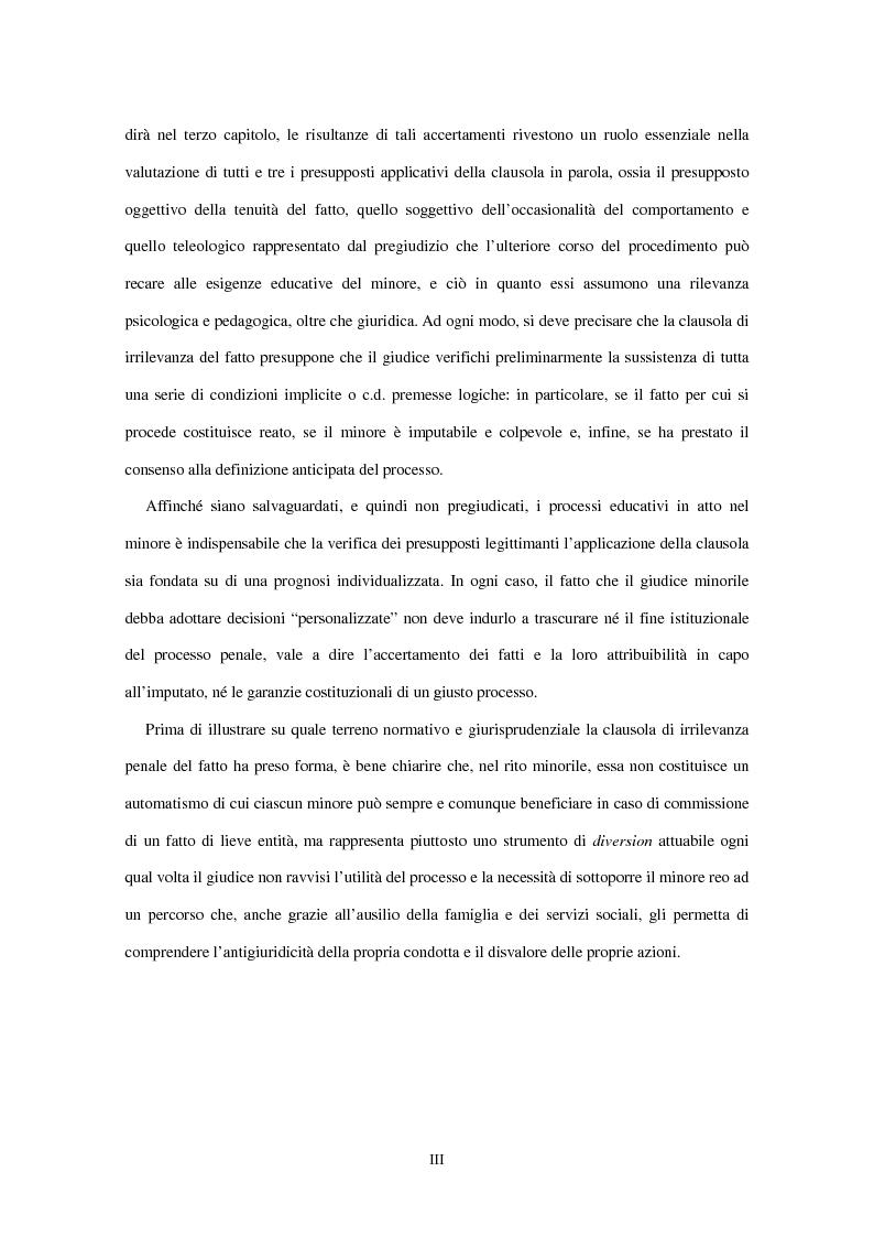 Anteprima della tesi: La clausola di irrilevanza del fatto nel processo penale minorile, Pagina 4