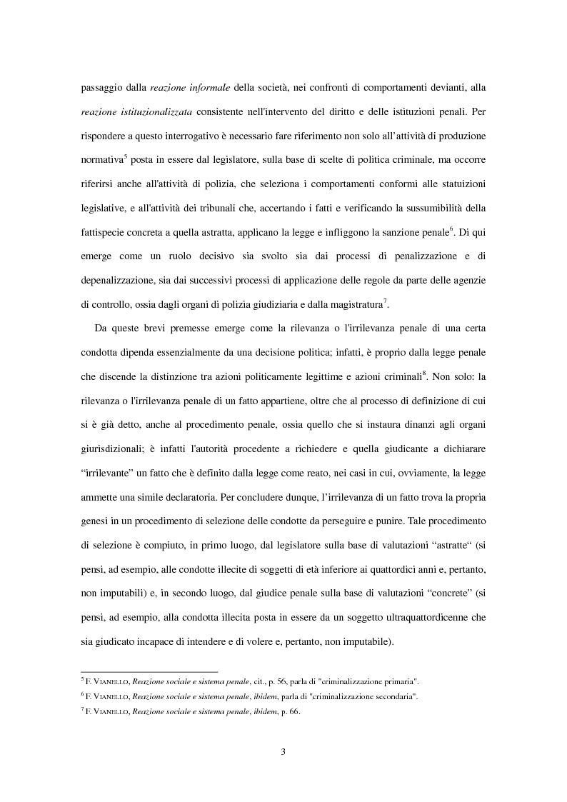 Anteprima della tesi: La clausola di irrilevanza del fatto nel processo penale minorile, Pagina 7