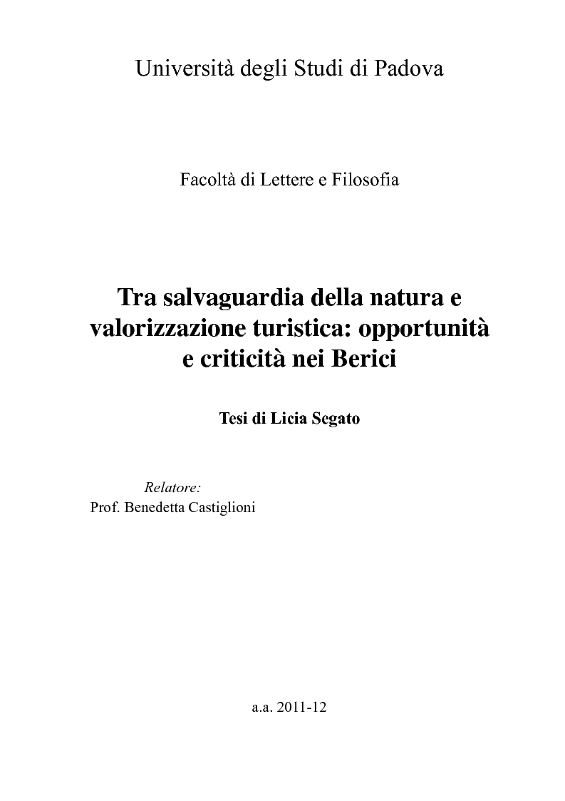 Anteprima della tesi: Tra salvaguardia della natura e valorizzazione turistica: opportunità e criticità nei Berici, Pagina 1