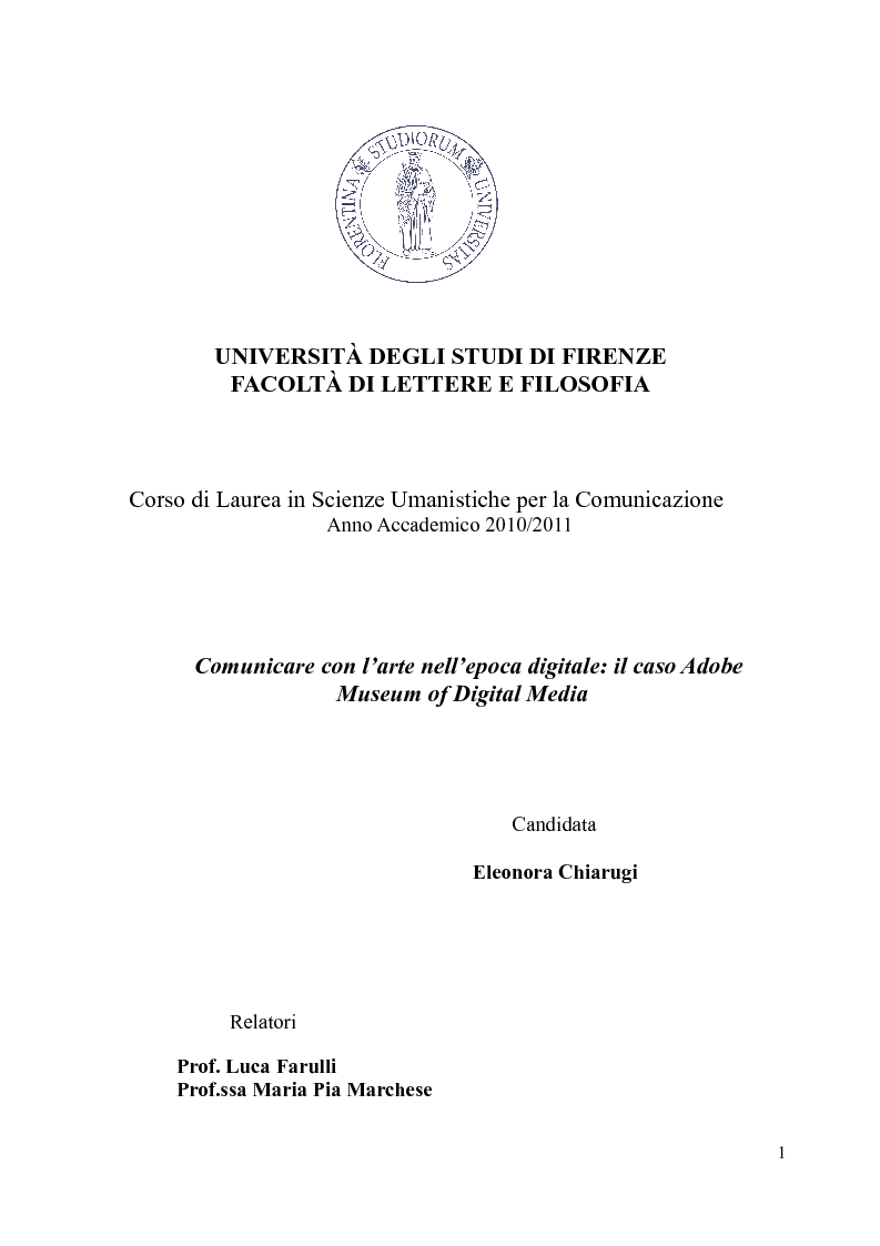 Anteprima della tesi: Comunicare con l'arte nell'epoca digitale: il caso Adobe Museum of Digital Media, Pagina 1