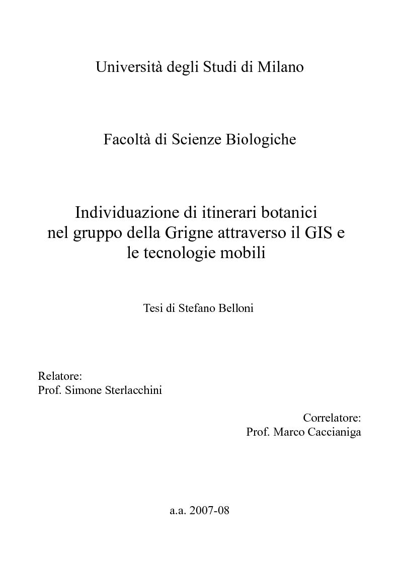 Anteprima della tesi: Individuazione di itinerari botanici nel gruppo della Grigne attraverso il GIS e le tecnologie mobili, Pagina 1