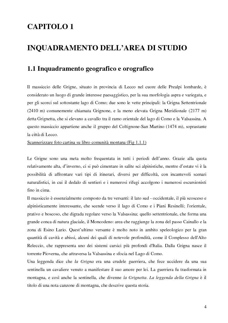 Anteprima della tesi: Individuazione di itinerari botanici nel gruppo della Grigne attraverso il GIS e le tecnologie mobili, Pagina 3