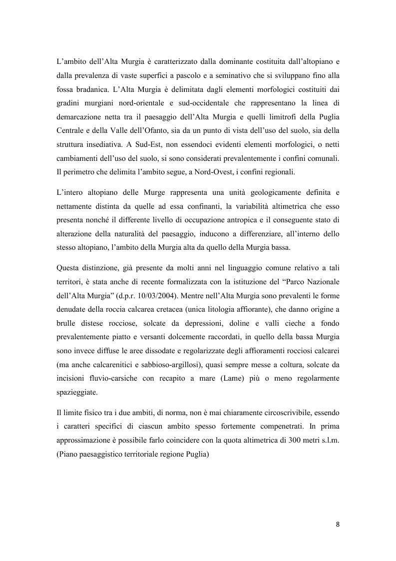 Anteprima della tesi: Analisi multitemporale (1815-2010) delle variazioni dell'uso del suolo (Murgia, Puglia): conseguenze sulle risorse idriche sotterranee, Pagina 7