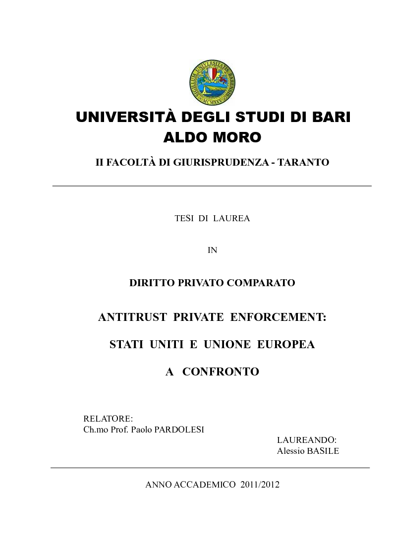 Anteprima della tesi: Antitrust Private Enforcement: Stati Uniti e Unione Europea a confronto, Pagina 1
