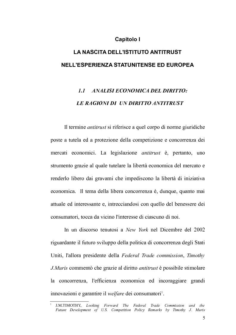 Anteprima della tesi: Antitrust Private Enforcement: Stati Uniti e Unione Europea a confronto, Pagina 6
