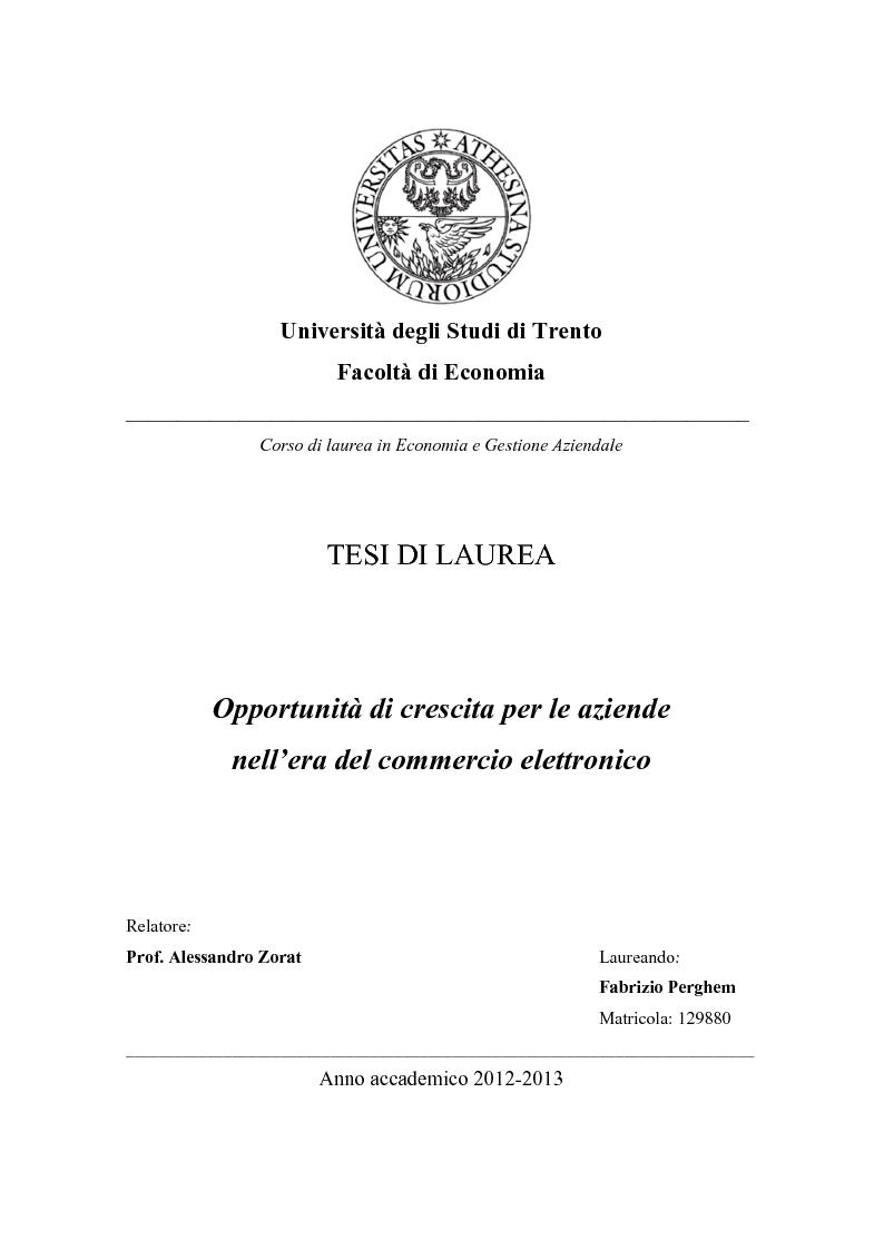 Anteprima della tesi: Opportunità di crescita per le aziende nell'era del commercio elettronico, Pagina 1