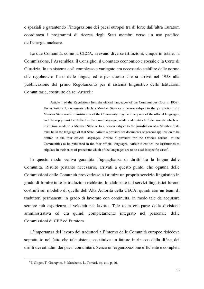 Anteprima della tesi: Tradurre per la Commissione Europea: tecnologie, metodi e strategie di lavoro dei traduttori della Direzione Generale per la Traduzione., Pagina 10