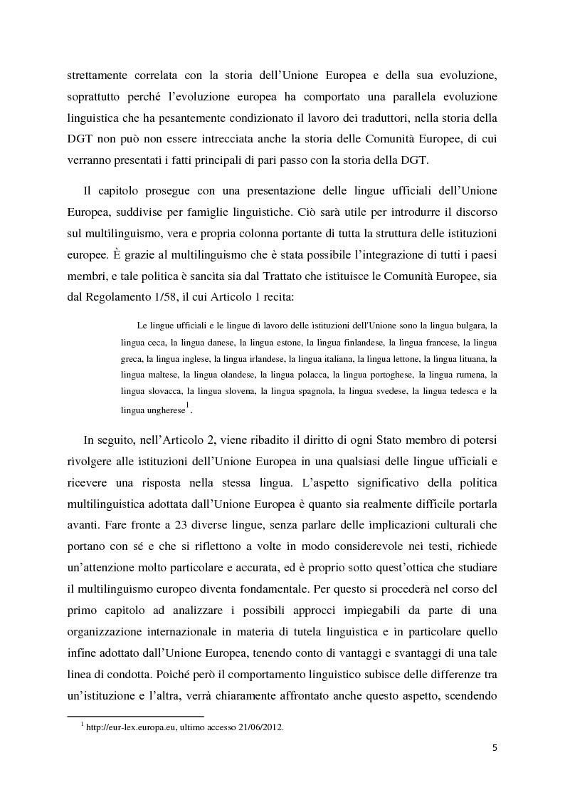 Anteprima della tesi: Tradurre per la Commissione Europea: tecnologie, metodi e strategie di lavoro dei traduttori della Direzione Generale per la Traduzione., Pagina 3