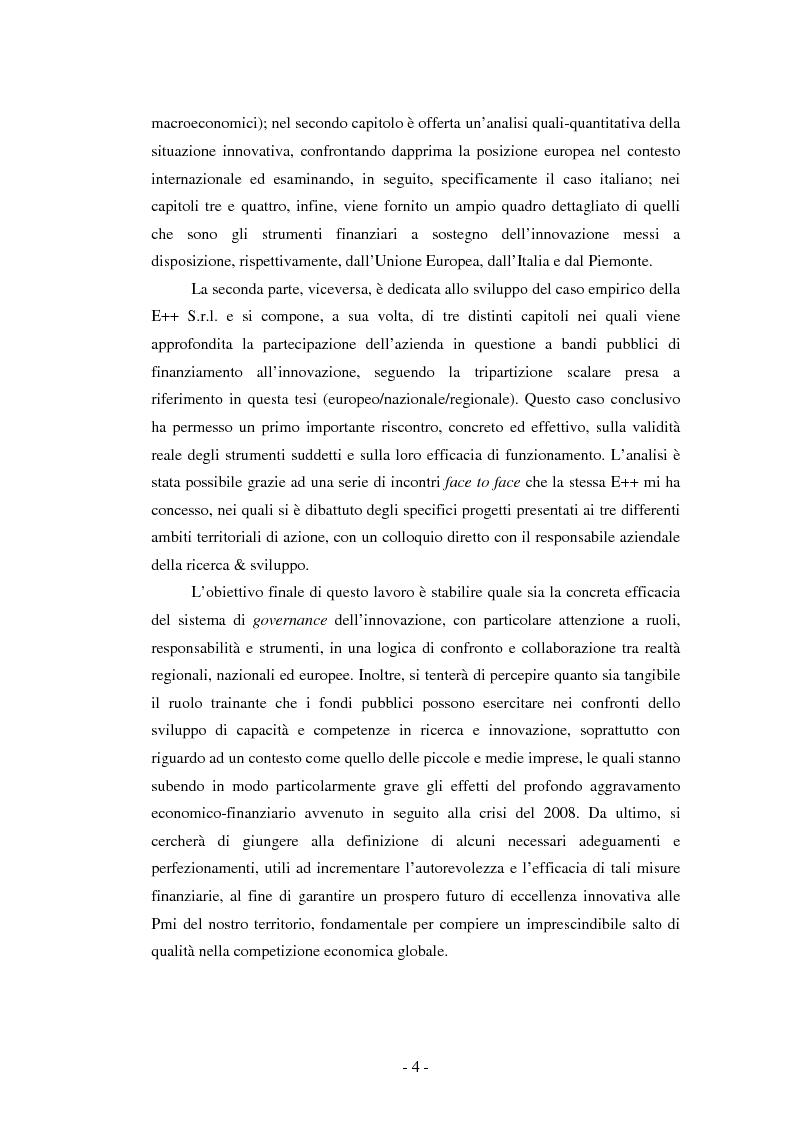 Anteprima della tesi: Il ruolo dei fondi pubblici nel finanziamento all'innovazione. Il caso della E++ S.r.l., Pagina 3