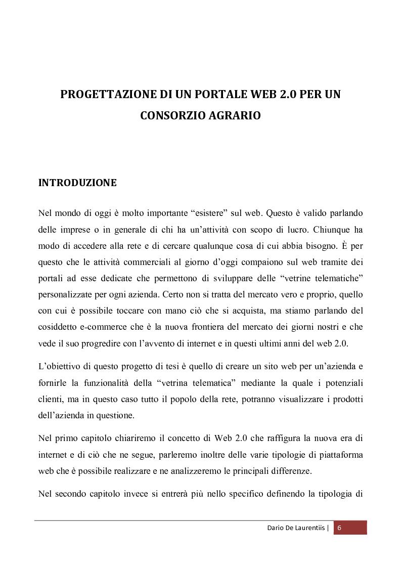 Anteprima della tesi: Progettazione di un Portale Web 2.0 per un Consorzio Agrario, Pagina 2