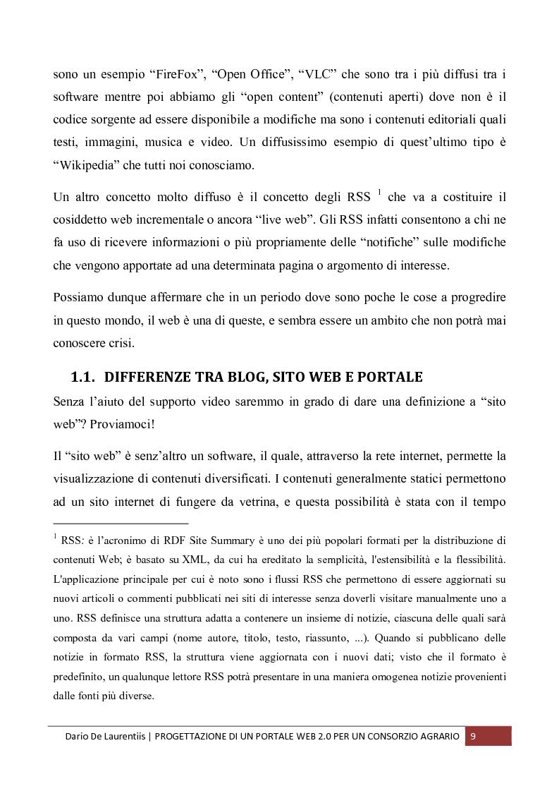 Anteprima della tesi: Progettazione di un Portale Web 2.0 per un Consorzio Agrario, Pagina 5