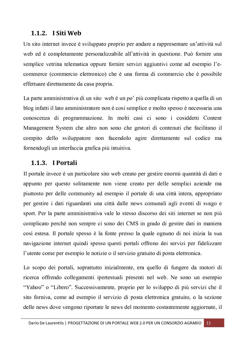 Anteprima della tesi: Progettazione di un Portale Web 2.0 per un Consorzio Agrario, Pagina 7