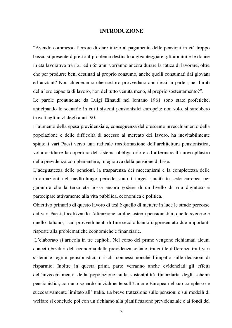 Anteprima della tesi: Sistemi previdenziali: Svezia e Italia a confronto in una prospettiva di equità, trasparenza e sostenibilità, Pagina 2