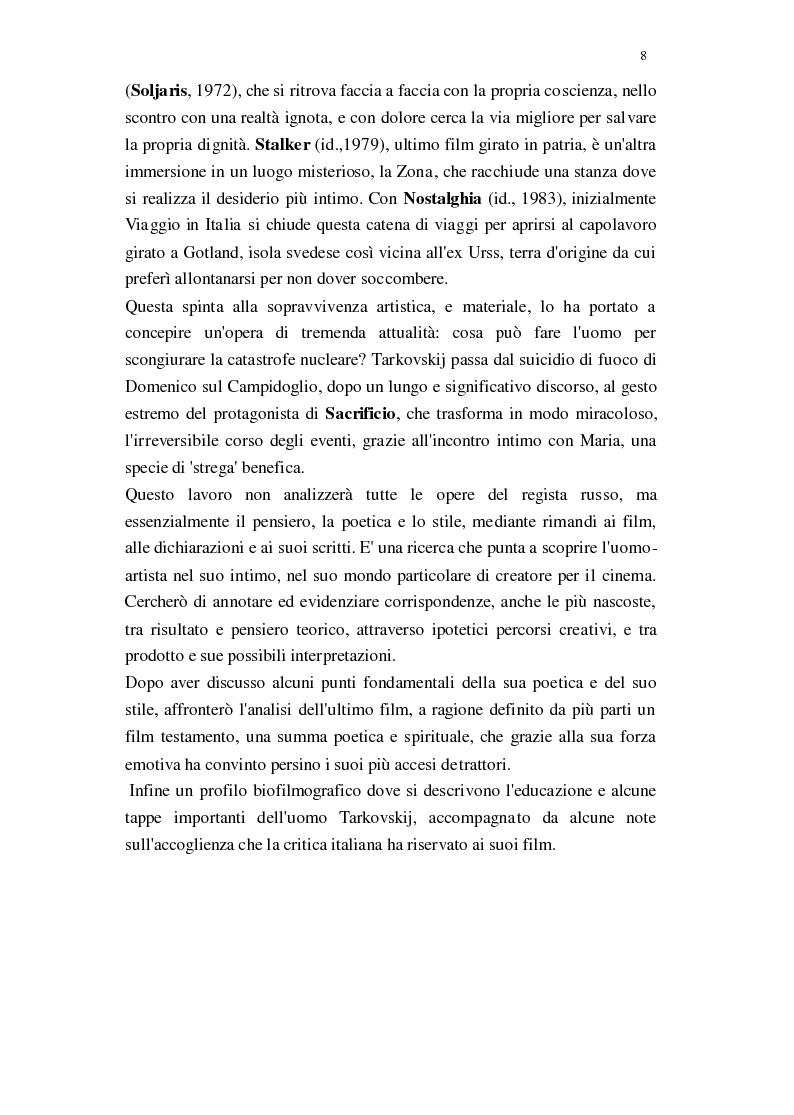 Anteprima della tesi: Il Cinema di Andrej Tarkovskij, Pagina 5