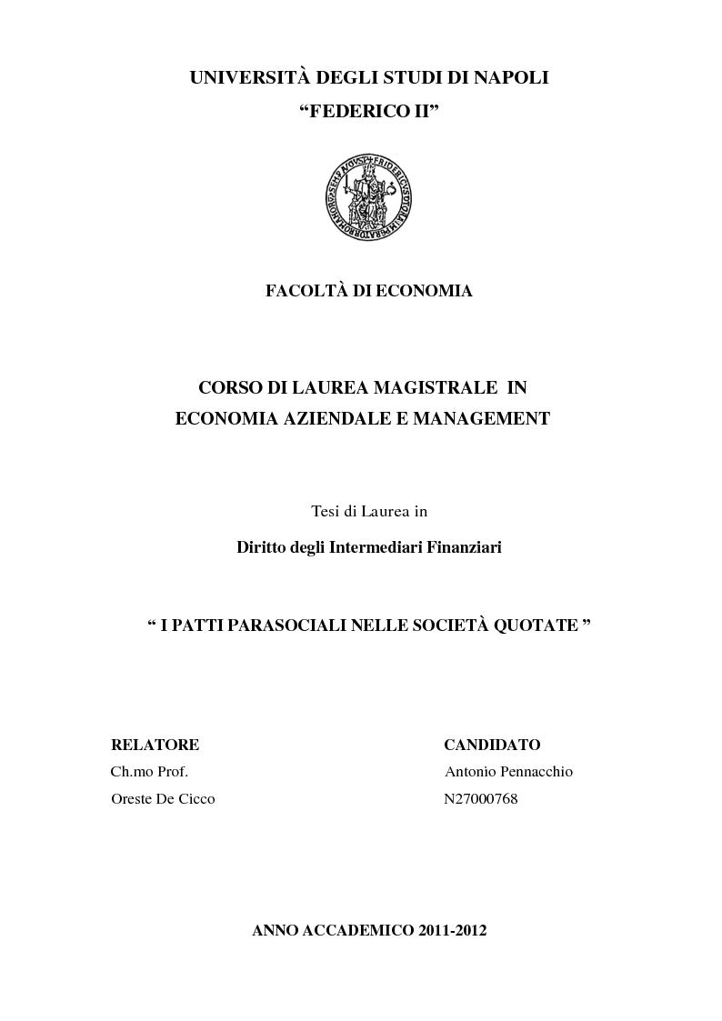 Anteprima della tesi: I patti parasociali nelle società quotate, Pagina 1