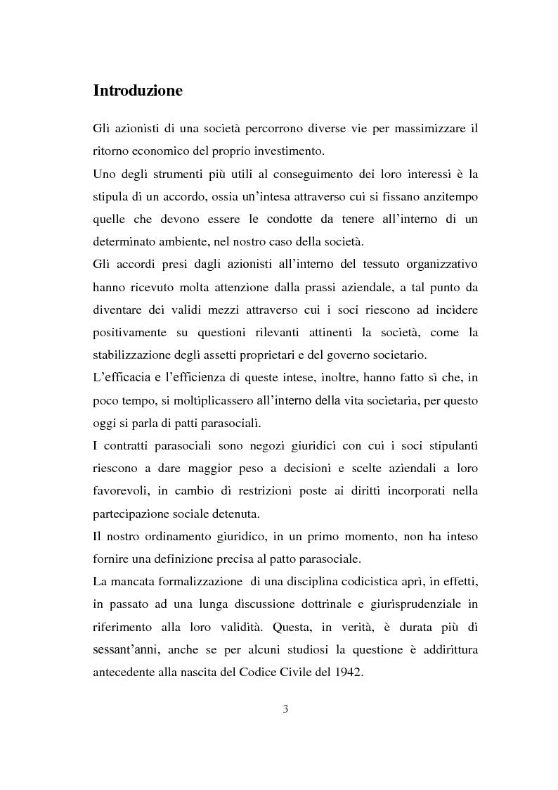 Anteprima della tesi: I patti parasociali nelle società quotate, Pagina 2