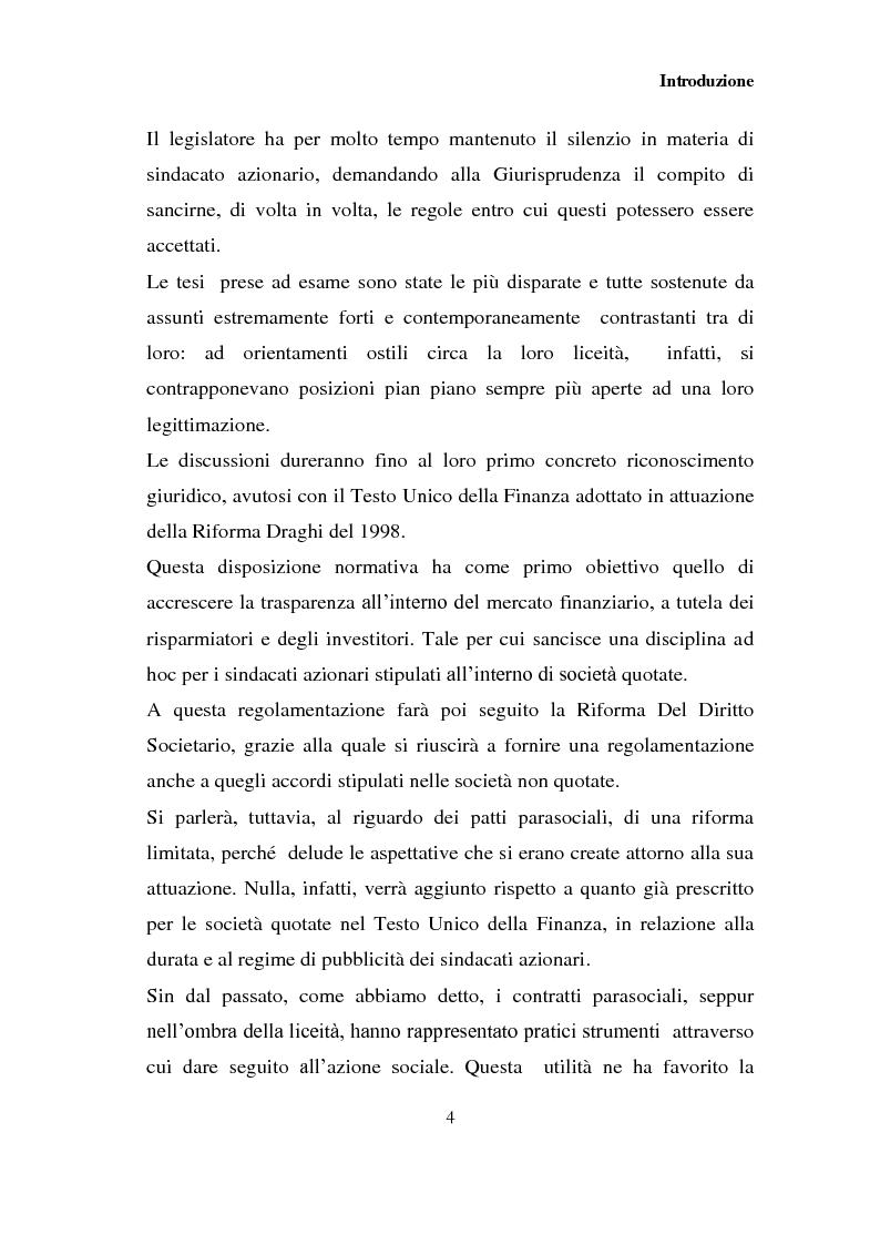 Anteprima della tesi: I patti parasociali nelle società quotate, Pagina 3