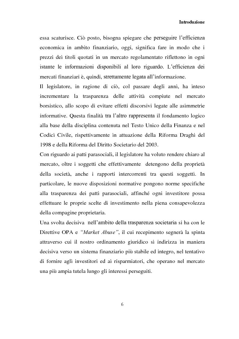 Anteprima della tesi: I patti parasociali nelle società quotate, Pagina 5