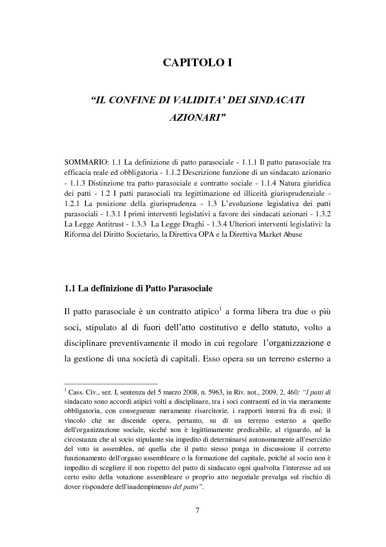 Anteprima della tesi: I patti parasociali nelle società quotate, Pagina 6