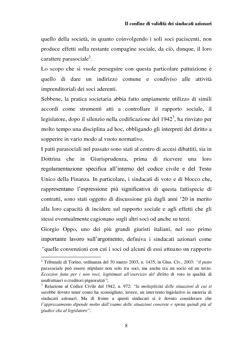 Anteprima della tesi: I patti parasociali nelle società quotate, Pagina 7