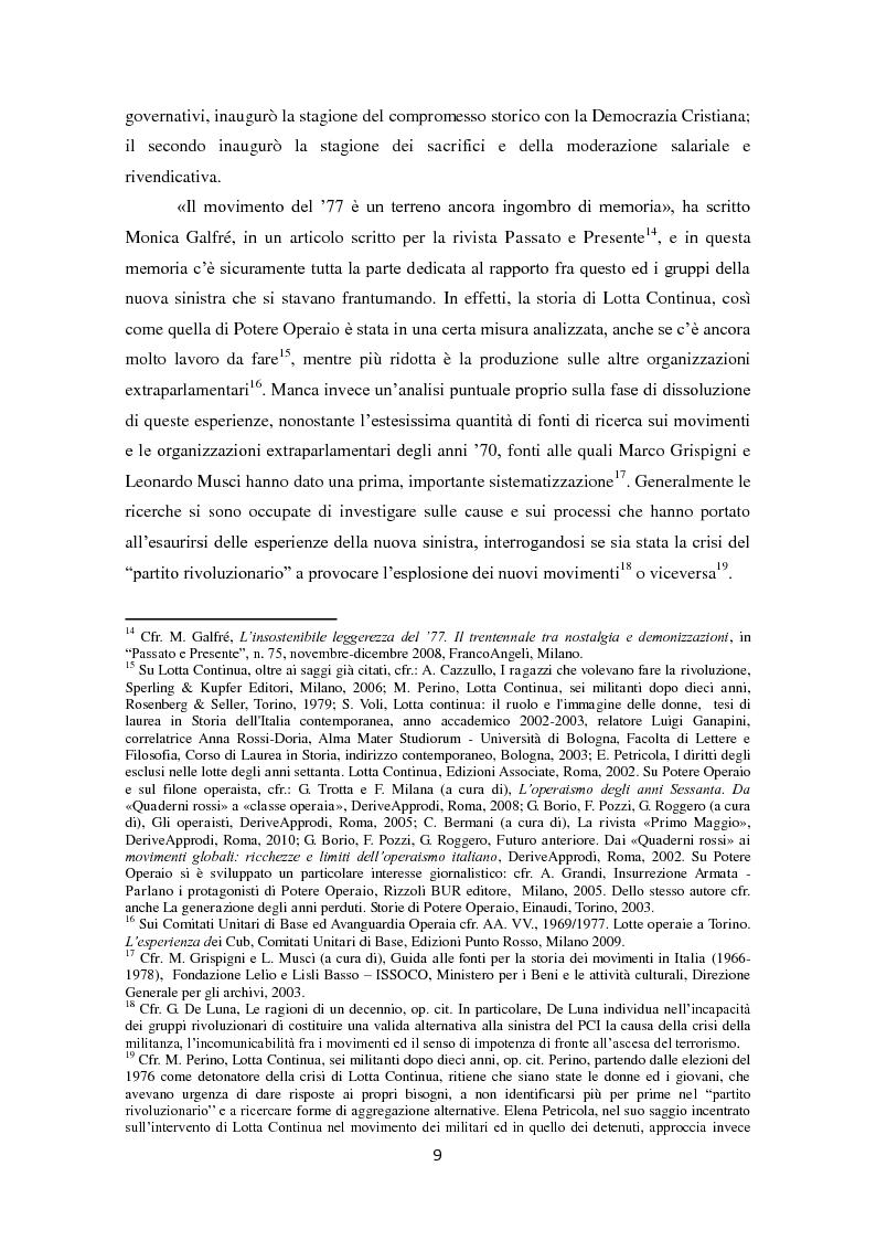 Anteprima della tesi: La dissoluzione di Lotta Continua nella Torino della seconda metà degli anni '70. Il tramonto di un'epoca fra movimenti e violenza, Pagina 5