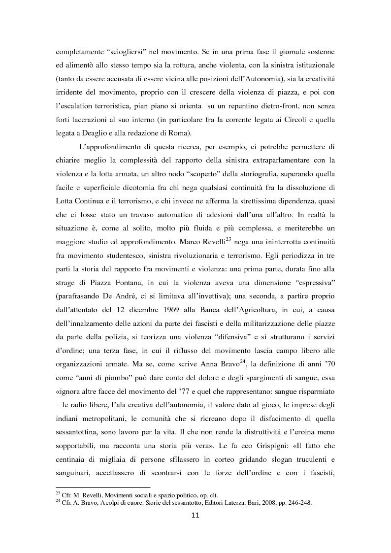 Anteprima della tesi: La dissoluzione di Lotta Continua nella Torino della seconda metà degli anni '70. Il tramonto di un'epoca fra movimenti e violenza, Pagina 7