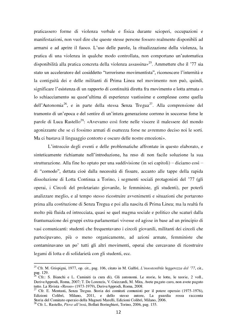 Anteprima della tesi: La dissoluzione di Lotta Continua nella Torino della seconda metà degli anni '70. Il tramonto di un'epoca fra movimenti e violenza, Pagina 8