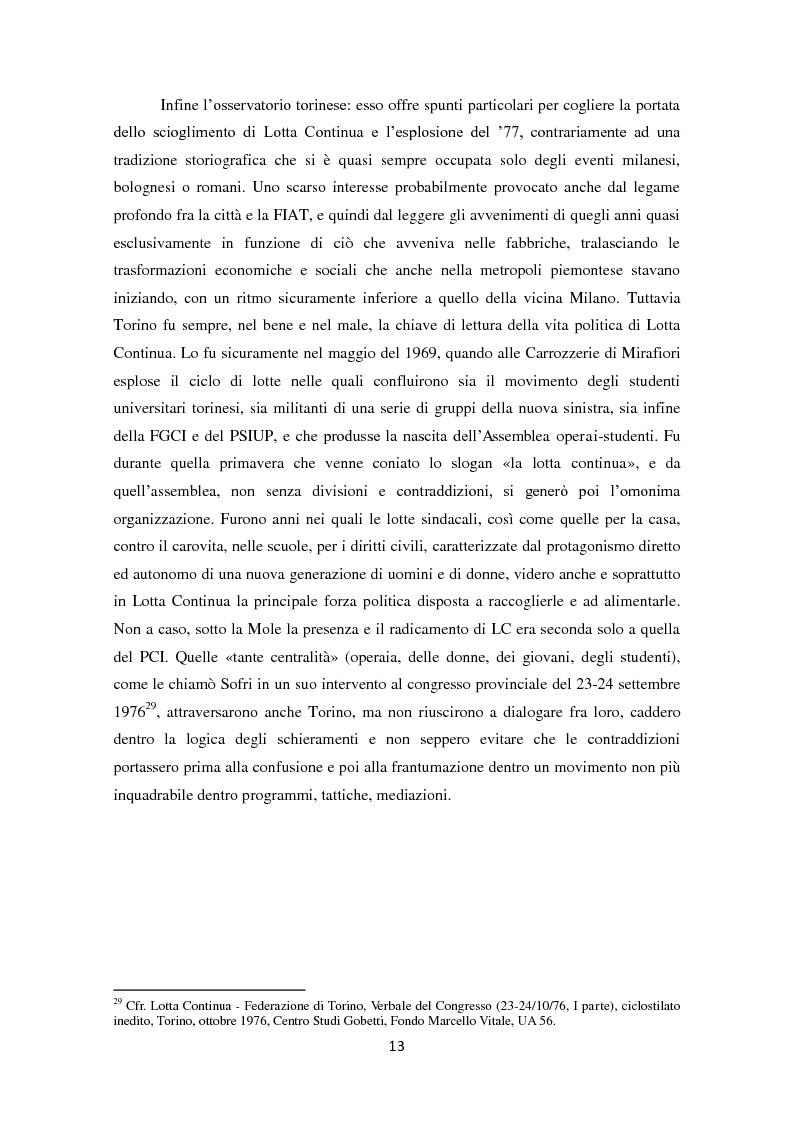 Anteprima della tesi: La dissoluzione di Lotta Continua nella Torino della seconda metà degli anni '70. Il tramonto di un'epoca fra movimenti e violenza, Pagina 9