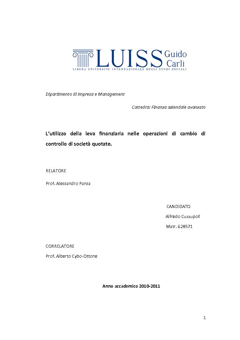 Anteprima della tesi: L'utilizzo della leva finanziaria nelle operazioni di cambio di controllo di società quotate., Pagina 1