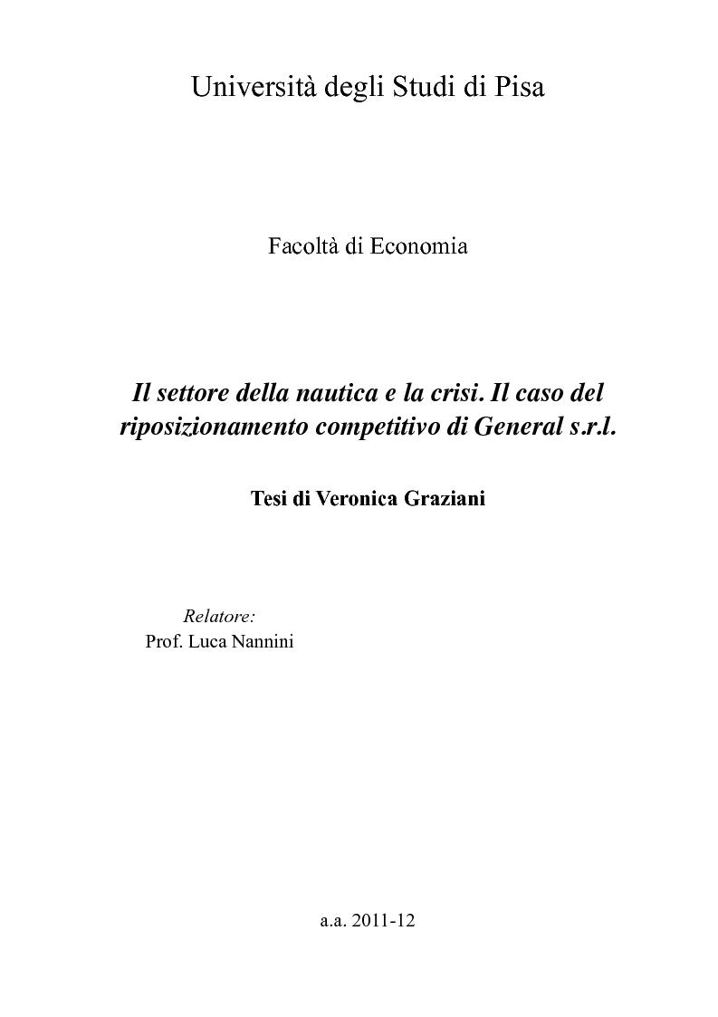Anteprima della tesi: Il settore della nautica e la crisi. Il caso del riposizionamento competitivo di General s.r.l., Pagina 1