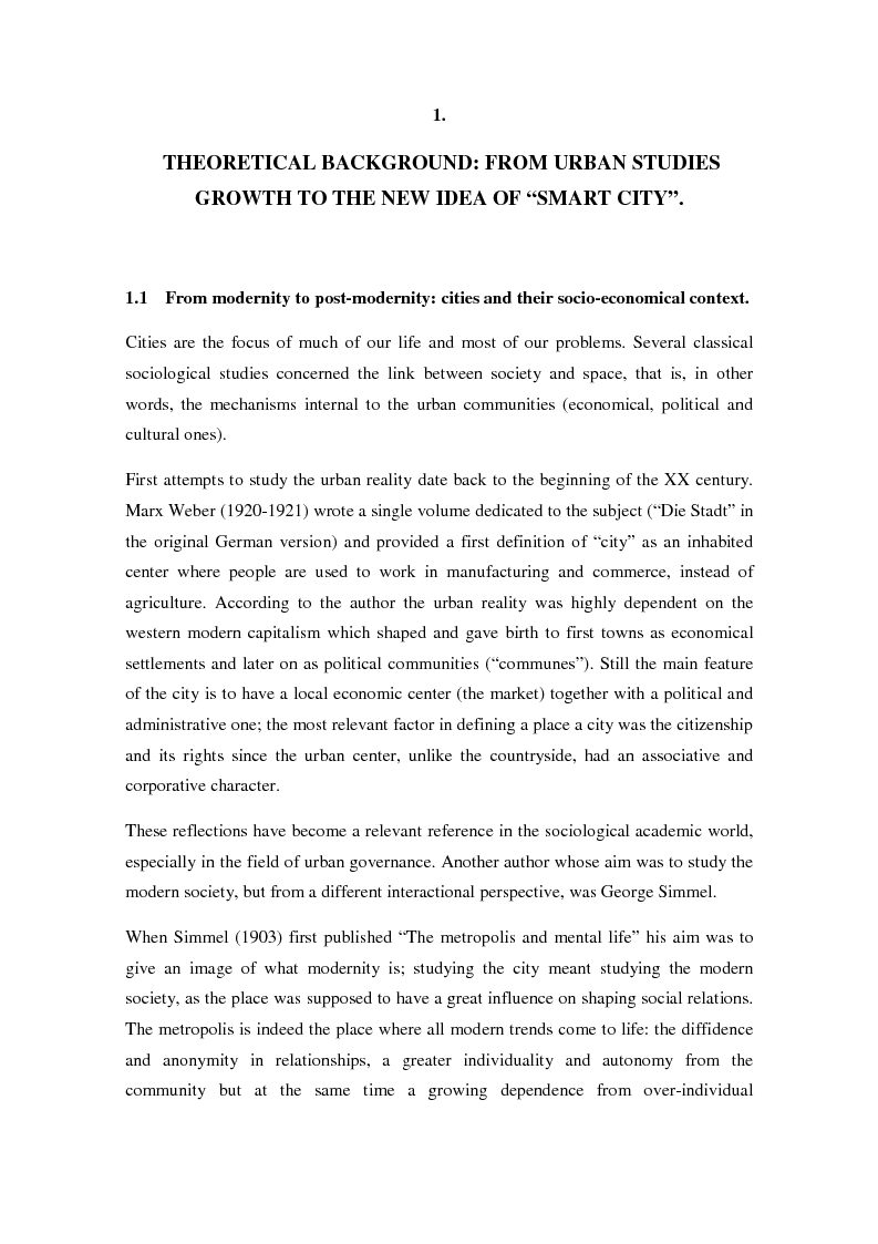 """Anteprima della tesi: How the """"smart city"""" model matches equity issues. A comparative study of Stcokholm and Torino., Pagina 6"""