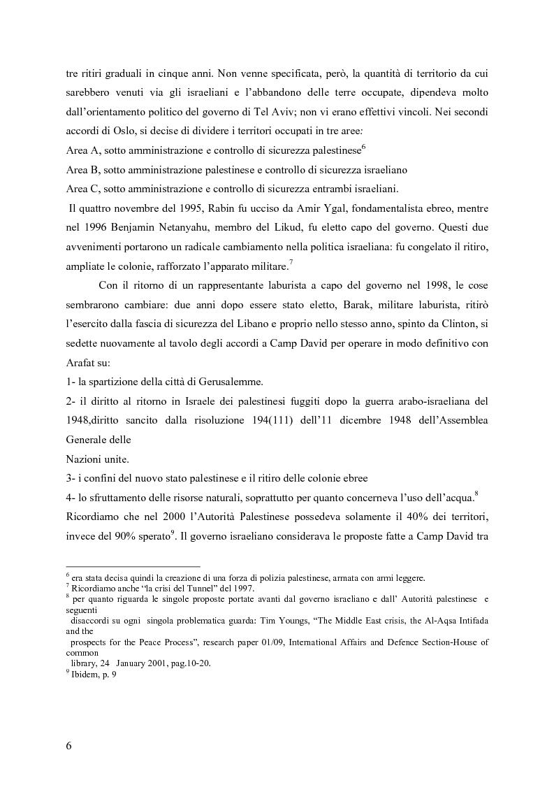 Anteprima della tesi: Analisi comparata tra la prima e la seconda intifada palestinese, Pagina 5