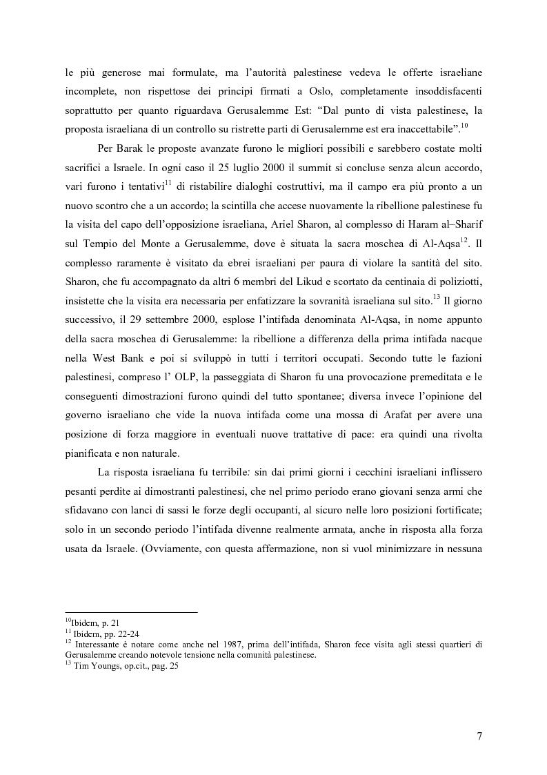 Anteprima della tesi: Analisi comparata tra la prima e la seconda intifada palestinese, Pagina 6