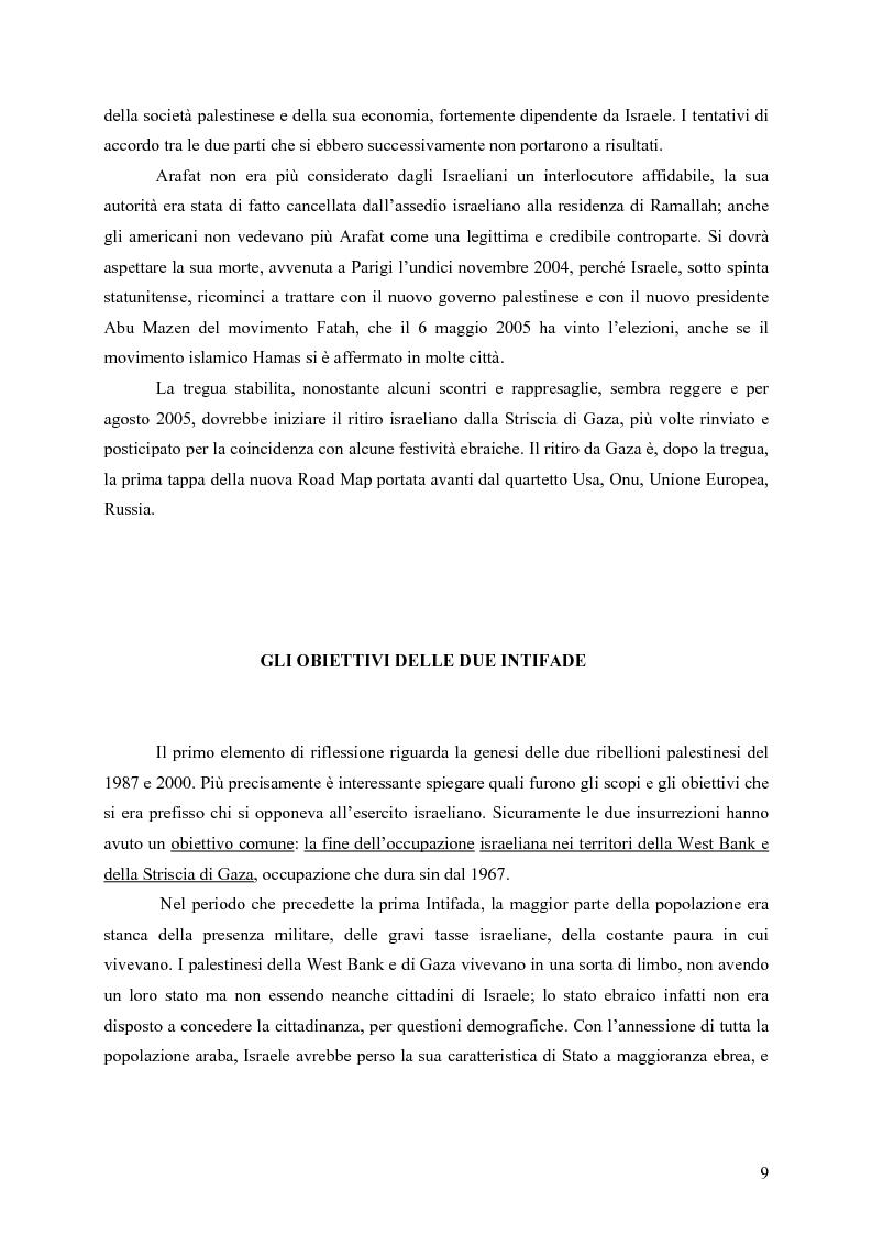 Anteprima della tesi: Analisi comparata tra la prima e la seconda intifada palestinese, Pagina 8