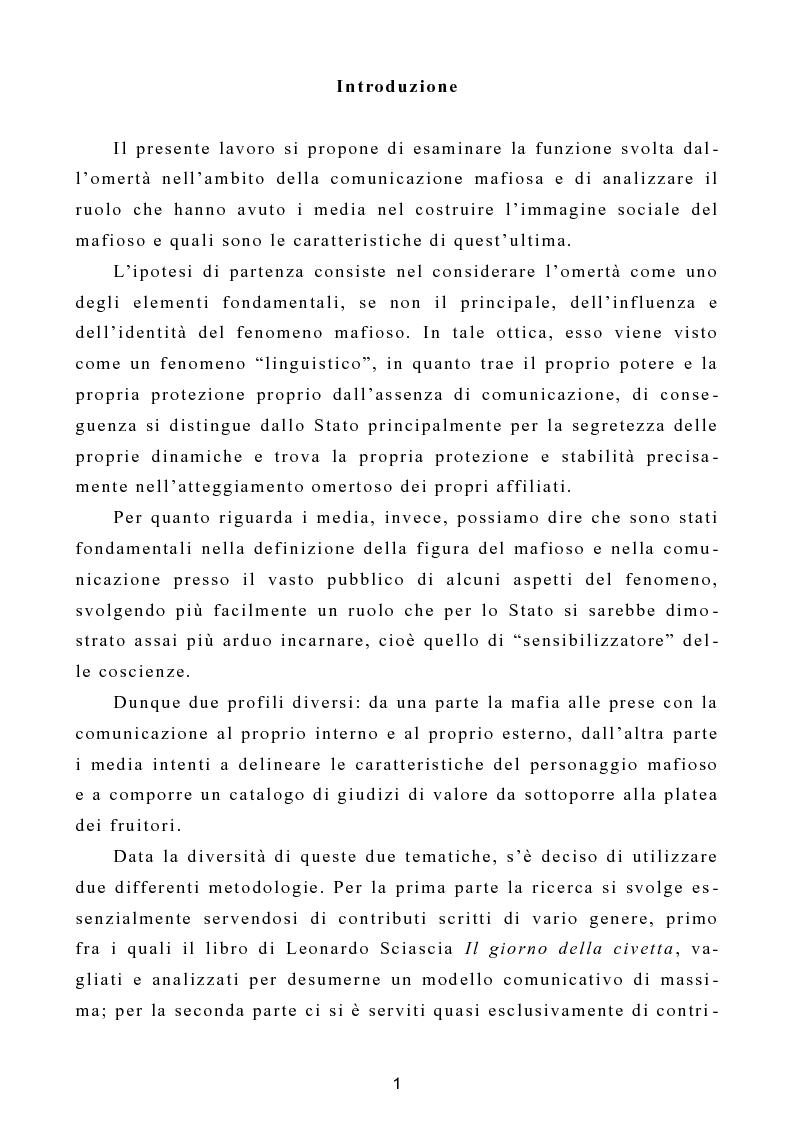 """Anteprima della tesi: L'omertà come strategia discorsiva del fenomeno mafioso e analisi del """"mafioso mediatico"""", Pagina 2"""