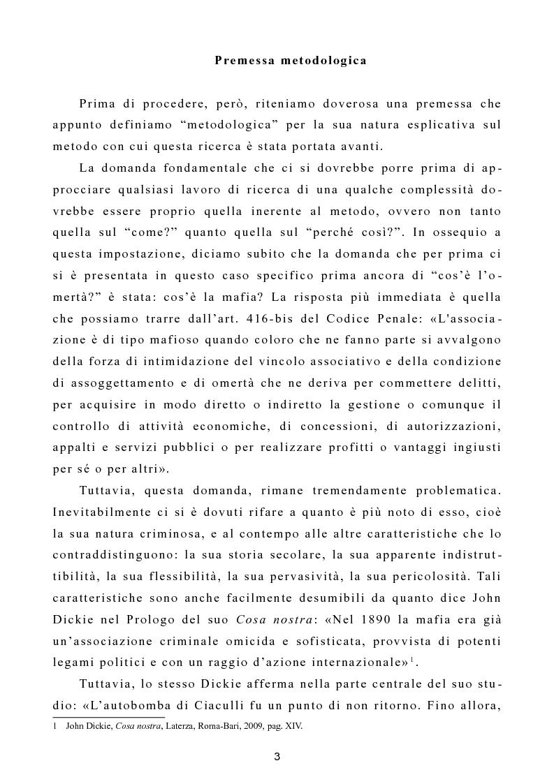 """Anteprima della tesi: L'omertà come strategia discorsiva del fenomeno mafioso e analisi del """"mafioso mediatico"""", Pagina 4"""