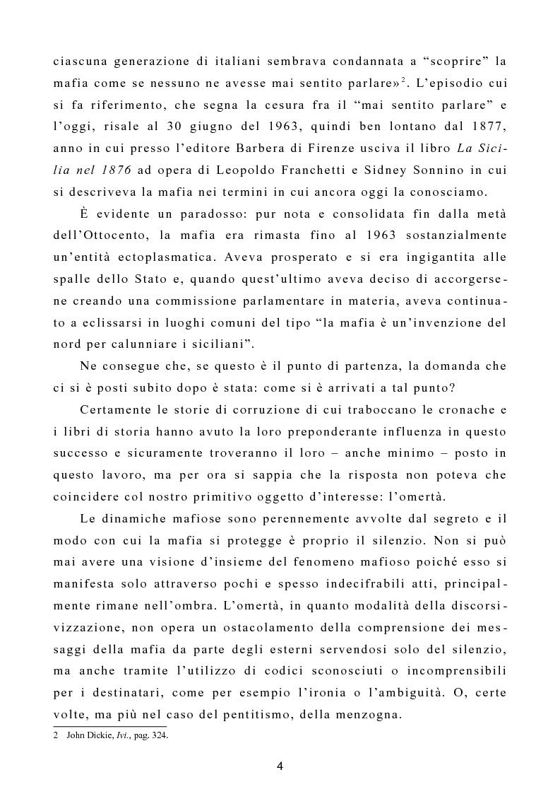 """Anteprima della tesi: L'omertà come strategia discorsiva del fenomeno mafioso e analisi del """"mafioso mediatico"""", Pagina 5"""