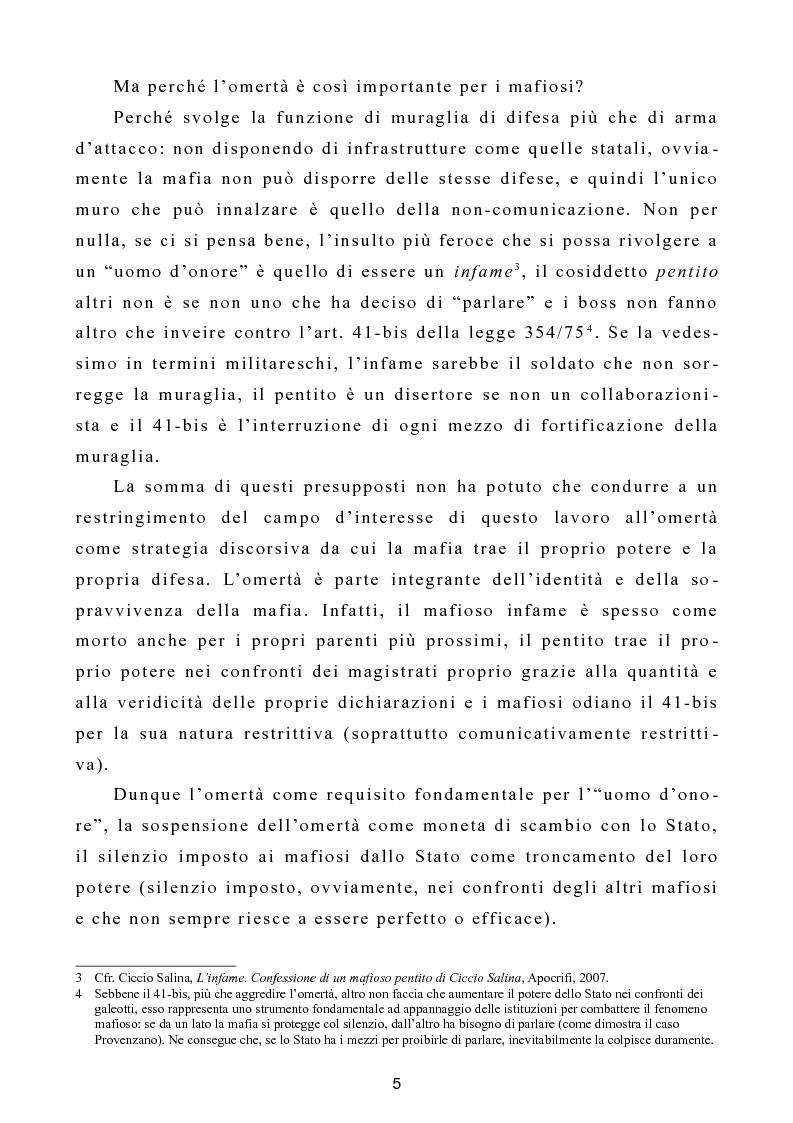 """Anteprima della tesi: L'omertà come strategia discorsiva del fenomeno mafioso e analisi del """"mafioso mediatico"""", Pagina 6"""