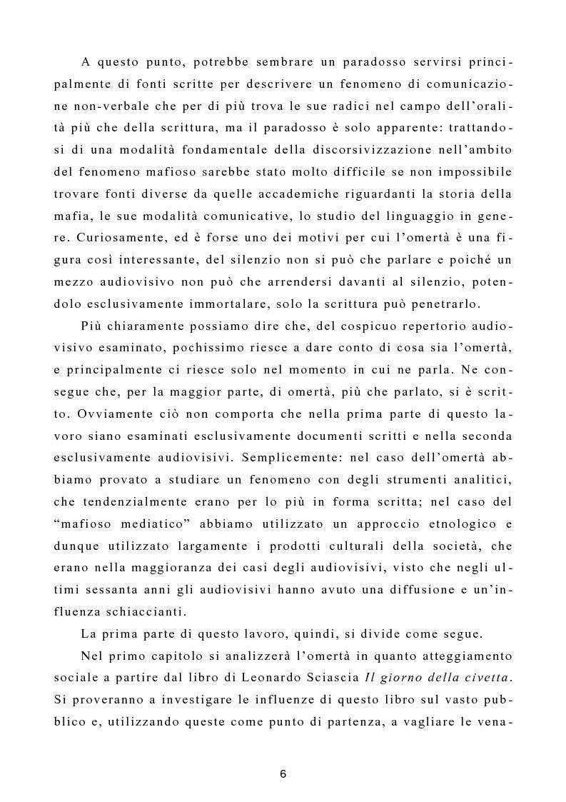 """Anteprima della tesi: L'omertà come strategia discorsiva del fenomeno mafioso e analisi del """"mafioso mediatico"""", Pagina 7"""
