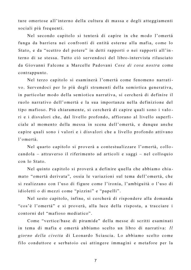 """Anteprima della tesi: L'omertà come strategia discorsiva del fenomeno mafioso e analisi del """"mafioso mediatico"""", Pagina 8"""