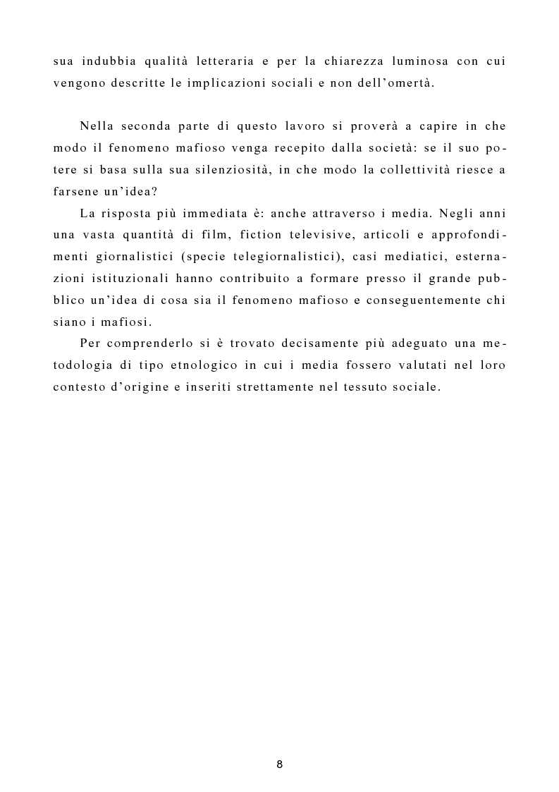 """Anteprima della tesi: L'omertà come strategia discorsiva del fenomeno mafioso e analisi del """"mafioso mediatico"""", Pagina 9"""