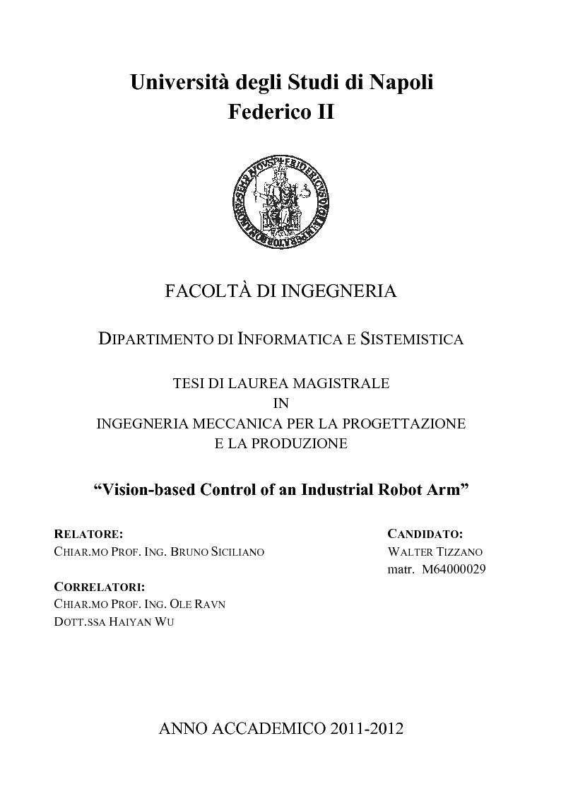 Anteprima della tesi: Vision-based Control of an Industrial Robot Arm, Pagina 1
