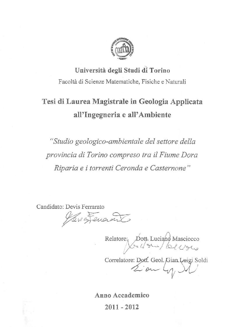 Anteprima della tesi: Studio geologico-ambientale del settore della provincia di Torino compreso tra il Fiume Dora Riparia e i torrenti Ceronda e Casternone, Pagina 1