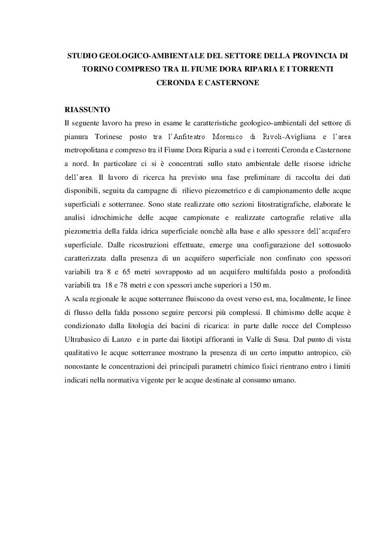 Anteprima della tesi: Studio geologico-ambientale del settore della provincia di Torino compreso tra il Fiume Dora Riparia e i torrenti Ceronda e Casternone, Pagina 2