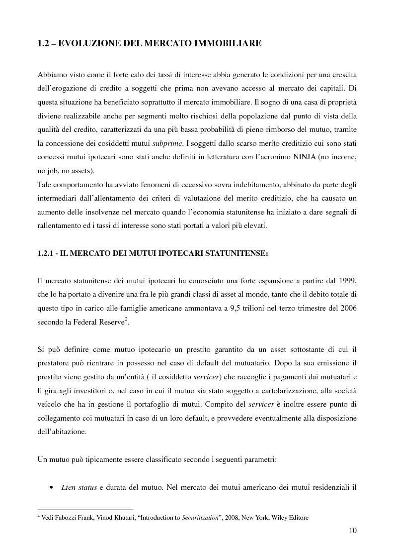 Anteprima della tesi: Mutui sub-prime e cartolarizzazione nella crisi finanziaria del 2007, Pagina 9