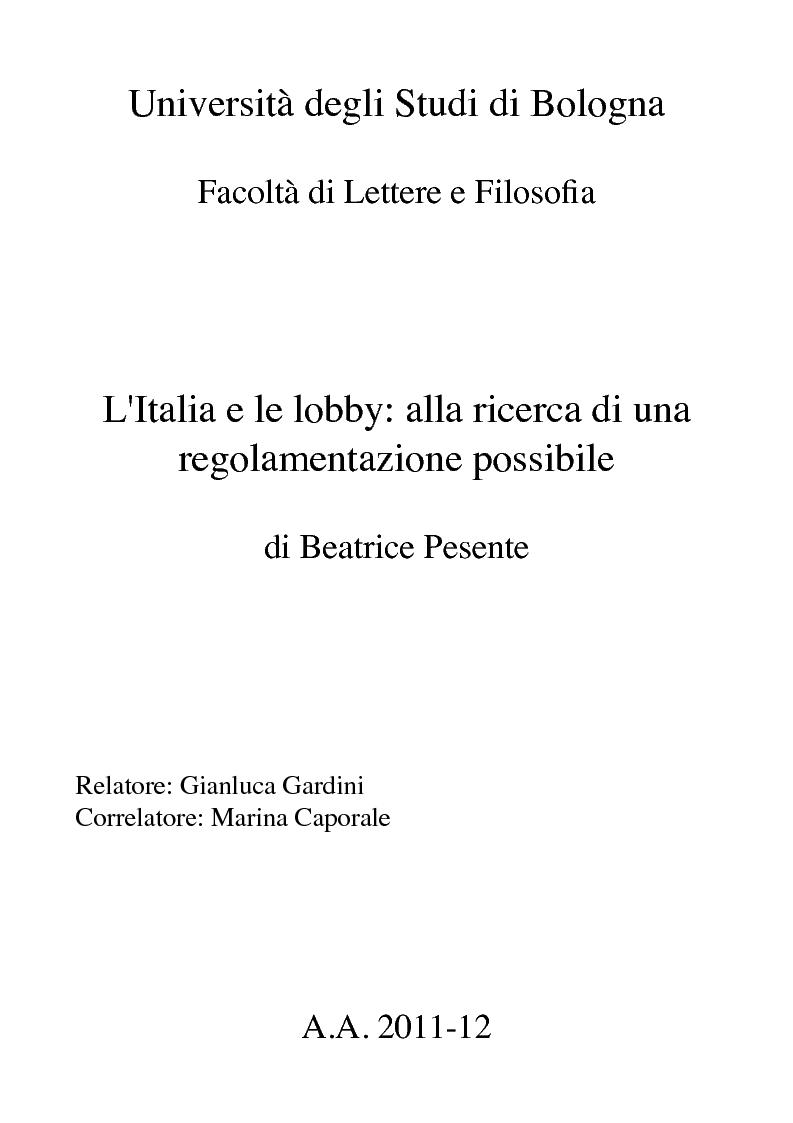 Anteprima della tesi: L'Italia e le lobby: alla ricerca di una regolamentazione possibile, Pagina 1