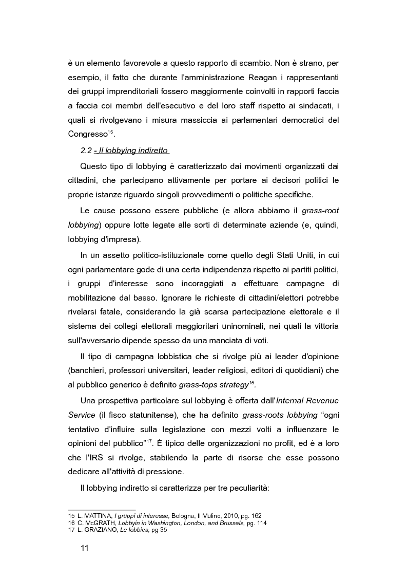 Anteprima della tesi: L'Italia e le lobby: alla ricerca di una regolamentazione possibile, Pagina 10