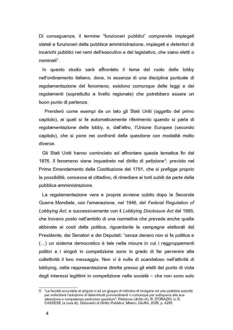 Anteprima della tesi: L'Italia e le lobby: alla ricerca di una regolamentazione possibile, Pagina 3