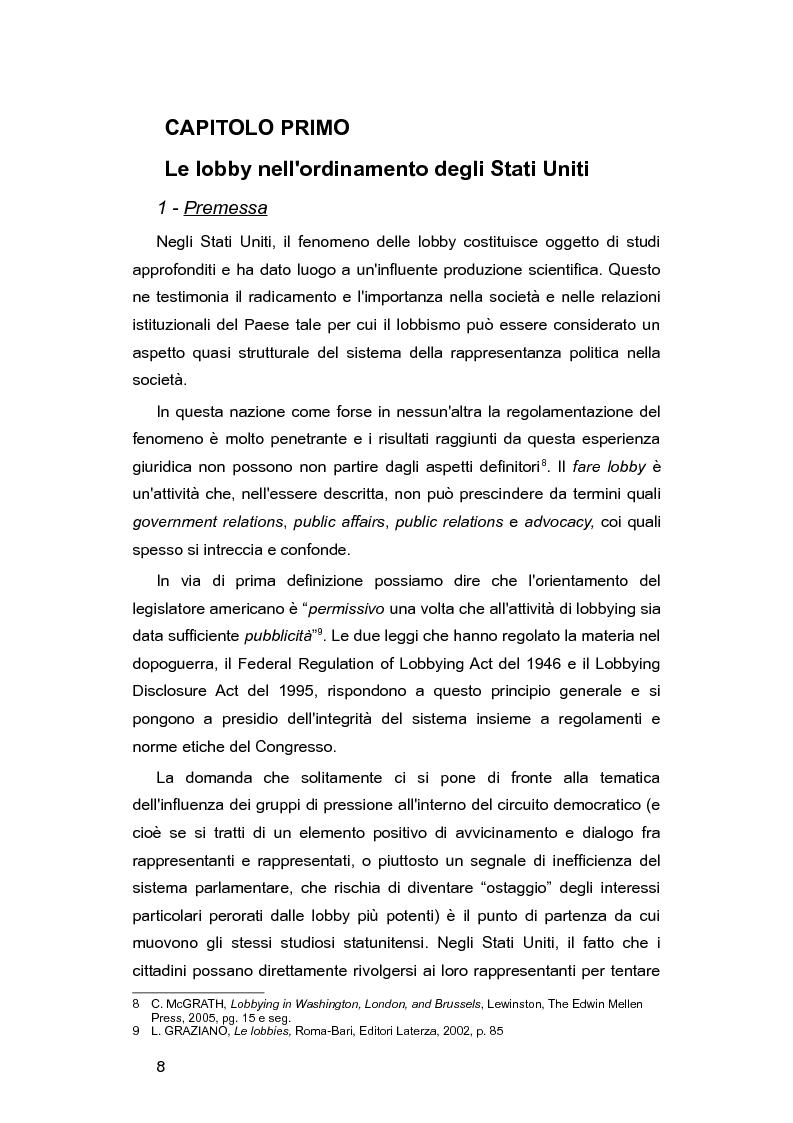 Anteprima della tesi: L'Italia e le lobby: alla ricerca di una regolamentazione possibile, Pagina 7