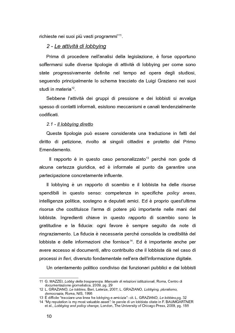 Anteprima della tesi: L'Italia e le lobby: alla ricerca di una regolamentazione possibile, Pagina 9